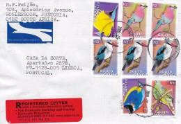 2 SCANS - TIMBRES - STAMPS - LETTRE RECOMMANDÉ POUR PORTUGAL - AFRIQUE DU SUD - TIMBRES DIVERS OISEAUX ET POISSONS - Afrique Du Sud (1961-...)