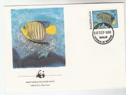 1986 MALDIVES FDC Stamps Angelfish FISH  Cover WWF Panda - Maldives (1965-...)