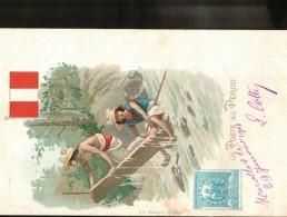 Belle Cpa  Précurseur De 1901  LA POSTE  AU PEROU  Avec DRAPEAU - Stamps (pictures)