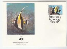 1986 MALDIVES FDC Stamps Moorish FISH  Cover WWF Panda - Maldives (1965-...)