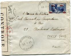 LIBAN LETTRE CENSUREE DEPART BEYROUTH R.P. 19 II 45 POUR LA FRANCE - Liban