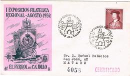 Umschlag Aus Ferrol Von 1952 - Schiffe / Turm - 1951-60 Cartas