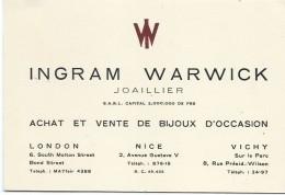 Carte Commerciale/Joaillier/Ingram WARVICK/London - Nice- Vichy/Vers1930-50  CAC5 - Factures & Documents Commerciaux