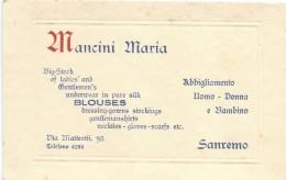 Carte Commerciale/Habillement/Homme-Femme-Enfant/Mancini Maria /SAN REMO/Italie / Vers1930-50  CAC6 - Factures & Documents Commerciaux