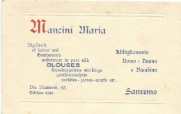 Carte Commerciale/Habillement/Homme-Femme-Enfant/Mancini Maria /SAN REMO/Italie / Vers1930-50  CAC6 - Invoices & Commercial Documents