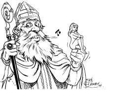 DELABY Philippe. Carte Postale. Saint Nicolas Et Poppée. TL 250 EX. Réservés à L'auteur Et Aux Membres D'I.MAG. 1999 - Tarjetas Postales