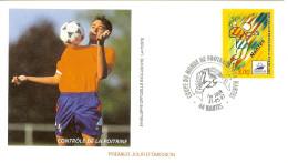 Enveloppe 1er Jour La Poste Timbre Nantes Contrôle De La Poitrine France 98 - Wereldkampioenschap