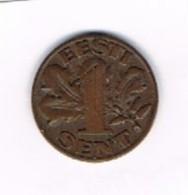 Moneda  1 Sent, ESTONIA, EESTI 1929, - Estonia