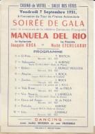 Papillon Publicitaire/Spectacle/Casino De Vittel/ Manuela Del Rio/Danseuse /Maîté Etchegaray/Joachim Roca/ 1951    CMH39 - Factures & Documents Commerciaux