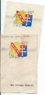2 Menus Dessinés à La Main/Ecussons Du Groupe Lorraine /AVIATION/ Caraux/1946   MENU174 - Menus