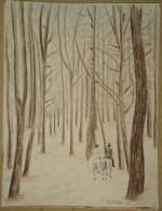 Dessin Au Crayon-Illustrateur- Sous Bois Et Cavaliers  (4) - Tekeningen