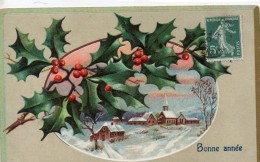 N° 180 : FETES VOEUX : Bonne Année ,  Gauffré , Houx , Village Sous La Neige - Neujahr