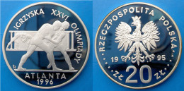 POLAND 20 Z 1995 ARGENTO PROOF SILVER OLYMPIC GAMES ATLANTA 1996 WRESTLERS PESO 31,1g TITOLO 0,925 CONSERVAZIONE FONDO S - Polonia