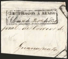 G)1856 MEXICO, CERTIFICATE FRONT COVER STAMPS CONSIGNMENT TO GUANAJUATO, F - Mexico