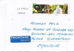 E)2014 FRANCE, PARIS ZOO, SIFACA (MONKEY), PANTHER, FLAMENCO, GIRAFFE, THE GREAT ROCK, CIRCULATED COVER TO MEXICO, RARE - Frankrijk