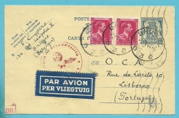 528 Op Entier Per Luchtpost  (Par Avion) Stempel BRUGGE 2/1/44 Naar UNDERCOVER OCA LISBONNE  + Censuur - Stamped Stationery