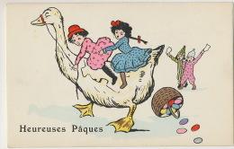 Petites Filles A Cheval Sur Une Oie Paques Girls Riding A Goose Easter Art Card - Cartes Humoristiques