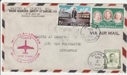 Manila Singapore London 1961 - First Flight Erstflug Vol - Comet 4 - Brief Lettre Cover - Philippinen