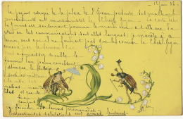 Art Thick Card Humanized Cockchafer Courtship On Lilies Belle Carte Hanneton Humains Se Faisant La Cour Sur Du Muguet - Insectes