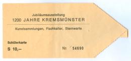 2) Ticket Eintrittskarte Jubiläumsausstellung 1977 1200 Jahre Kremsmünster Stift Kloster Abtei Sternwarte Kremstal Bilet - Eintrittskarten