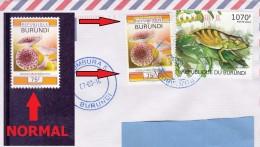 Z3] 2 SCANS: Enveloppe Cover Burundi Variété Variety Champignon Couleurs Décalées Mushroom Unwedged Colours