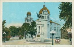 US BALTIMORE / Francis Scott Key Monument And Eutaw Place Temple / CARTE COULEUR - Baltimore