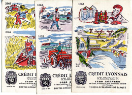 BVD1 Série De 6 Buvards Crédit Lyonnais, Illustrateur Hervé Baille - Bank & Insurance