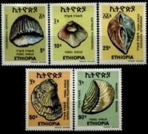 (227) Ethiopia / Ethiopie  1977 / Shells / Coquillages / Meeresschnecken  ** / Mnh  Michel 930-34 - Ethiopia