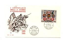 Fb698 - REPUBBLICA 1966 ,  SENZA  Timbro D'arrivo . A.F. ROMA .  INDIPENDENZA - 6. 1946-.. Repubblica