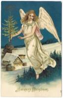 A Merry Christmas - Angel Carrying Tree - Embossed, Gilding - Unused - Angels
