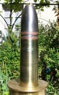 Obus De 37 Mm Français Ww1 1914 Neutra (amorce Percutée,pas De Fusée,douille Et Ogive Vide )ancre De Marine - Armes Neutralisées