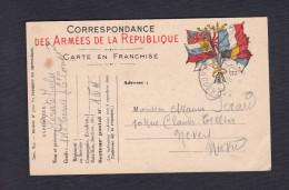 Carte Franchise Militaire De Jules Perard 145 145è Régiment Territorial 6è Cie Vers Nevers Guerre 14-18 - Military Service Stampless