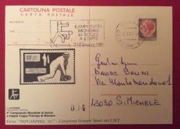 INTERO POSTALE CON STAMPA PRIVATA  MONDIALE DI BOCCE A COPPIE ANNULLO SPECIALE NOVARA 1981 - Pétanque