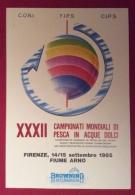 CAMPIONATI MONDIALI DI PESCA IN ACQUE DOLCI FIRENZE FIUME ARNO 1985  CARTOLINA ED ANNULLO SPECIALE - Pétanque