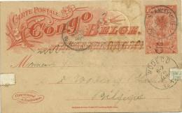 ENTIER POSTAL 10c CONGO BELGE SURCHAGE 5 DE STANLEYVILLE EN 1910 - Entiers Postaux