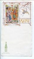 BVD2 Menu Style Art Nouveau. Saint Galmier Source Badoit Jeunes Japonaises Jouant Au Volant. - Menus