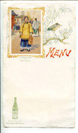 BVD2 Menu Style Art Nouveau. Saint Galmier Source Badoit Femme Chinoise - Menus
