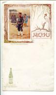 BVD2 Menu Style Art Nouveau. Saint Galmier Source Badoit Soldat De La Garde Impériale Japonaise, Illustrateur Bigeot - Menus