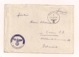 Feldpostbrief Ohne Inhalt 5.3.1942 Von FP-Nr. Ausgeschwärzt Nach Enns Ostmark - Covers & Documents