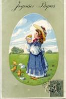 Joyeuses PAQUES Petite Fille Et Poussins Carte Gaufrée.1906 - Easter
