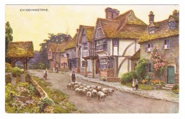 RB 1095 - Postcard - Shepherd & Flock Of Sheep In Chiddingstone Village - Kent - England