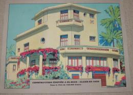 ARCHITECTURE  EL BIAR  ALGER  ALGERIE  1929  Belle Planche En Couleur - Publicités