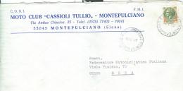 MONTEPULCIANO, MOTO CLUB CASSIOLI TULLIO, SIENA, BUSTA COMMERCIALE,1979, TIMBRO POSTE MONTEPULCIANO, - Sport