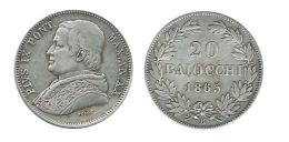 N2339 - Pie IX: 20 Baiocchi 1865, R - Vatican