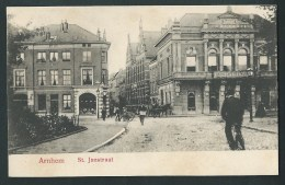 Arnhem. St. Janstraat. Belle Carte Animée, Attelage, Grand Café Restaurant. - Arnhem