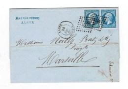LETTRE TP N°14 A H - ETAT DU POSTES FRANCE EN PAIRE TENANT A NORMAL - OB PC 3710 ALGER - TTB - 1862 Napoléon III
