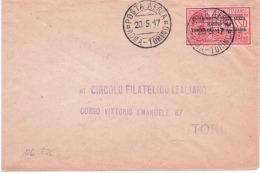 Esperimento Posta Aerea Roma-Torino 20/5/1017    A230 - 1900-44 Vittorio Emanuele III
