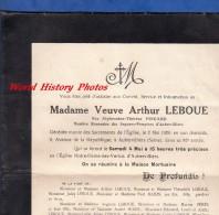 Faire-Part De Décés - AUBERVILLERS - Alphonsine Thérèse PINGARD épouse Arthur LEBOUE - 1929 - Sapeurs Pompiers - Obituary Notices