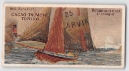 """04220 """"CACAO TALMONE-TORINO-RITORNO DALLA PESCA-NORVEGIA""""  ANIMATO, BARCHE,  FIGURINA ORIGINALE NR. 5 SERIE 1-36 - Cioccolato"""