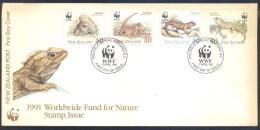 New Zealand 1991 WWF Cover: Fauna; Tuatara (Sphenodon Punctatus); Panda Bear - Reptilien & Amphibien